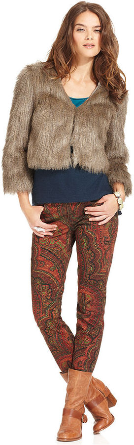 Lucky Brand Jacket, Long-Sleeve V-Neck Faux-Fur Cropped
