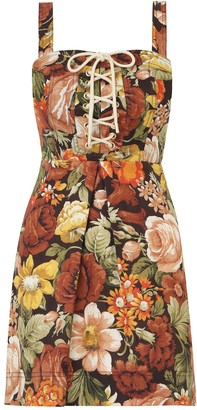 Zimmermann Bonita Lace Up Mini Dress