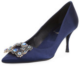 Roger Vivier Crystal Buckle Satin Pump, Navy
