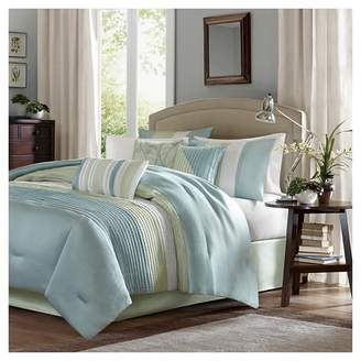 Kerry Pleated Colorblock Comforter Set (Full) Green - 7pc