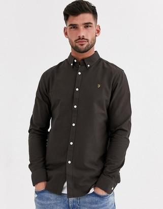 Farah Brewer oxford shirt with button down collar in brown