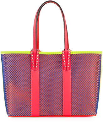 Christian Louboutin Cabata Small Neo Resille Fluo Matte Mesh & Leather Tote Bag