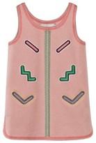 Stella McCartney Pink ZigZag Applique Curved Hem Dress
