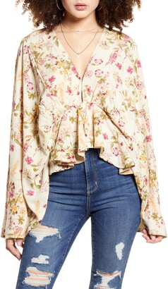 Band of Gypsies Agave Floral Print Bell Sleeve Top