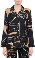 Valentino Crepe De Chine Panther Pijama Shirt
