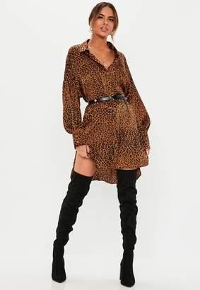 Missguided Rust Leopard Print Drop Back Oversized Shirt Dress