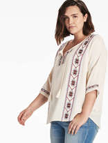 Lucky Brand Embroidered Popover Top