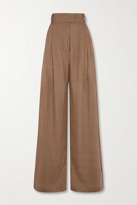 Three Graces London Molly Pleated Linen Wide-leg Pants - Brown