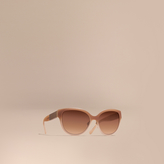 Burberry Check Detail Round Cat-eye Sunglasses