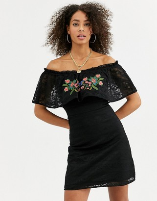 Urban Bliss gara dress with embroidered lace overlay