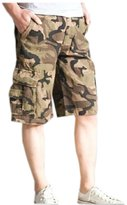 MedzRE Men's Straight Leg Baggy Camouflage Summer Cargo Shorts