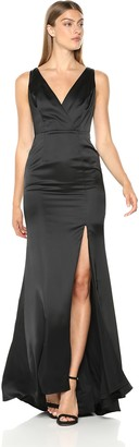 Adrianna Papell Women's Sleevelss Faux WRAP Bodice Light Satin HIGH Slit Dress