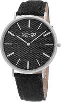SO & CO NY Unisex Soho Denim Covered Leather Casual Ultra Slim Quartz Watch J154P32