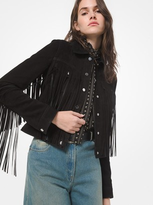 Michael Kors Collection Suede Fringed Jean Jacket