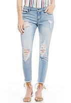 Celebrity Pink Destructed Frayed Hem Stretch Ankle Skinny Jeans