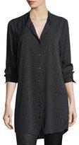 Eileen Fisher Grid-Printed Silk Crepe Mandarin Long Button-Front Shirt