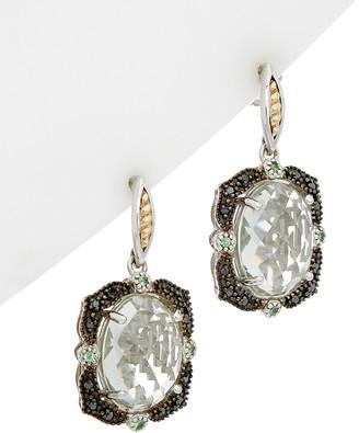 Phillip Gavriel 18K & Silver 0.24 Ct. Tw. Black Diamond & Green Amethyst Earrings