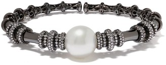 Yoko London 18kt black gold Twilight white South Sea pearl and diamond bangle