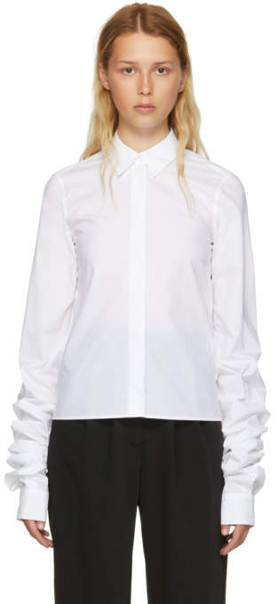 MM6 MAISON MARGIELA White Parachute Poplin Extra Long Sleeve Shirt