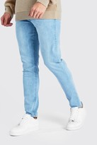 boohoo Mens Blue Washed Denim Skinny Jean, Blue