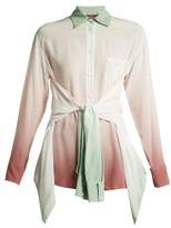 Sies Marjan Nellie Double-sleeve Ombre Silk Shirt - Womens - Green Multi