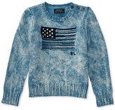 Ralph Lauren American Flag Graphic Cotton Sweater, Big Girls (7-16)