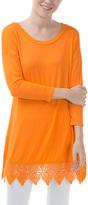 Orange Lace-Trim Tunic