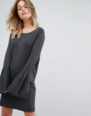 Vero Moda Bell Sleeve Knitted Sweater Dress-Gray