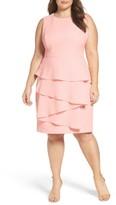 Eliza J Plus Size Women's Ella Cascade Crepe Sheath Dress