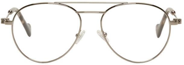 Moncler Gunmetal Aviator Glasses