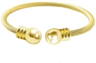 Savvy Cie 18K Yellow Gold Plated Twisted Cable Bangle Bracelet