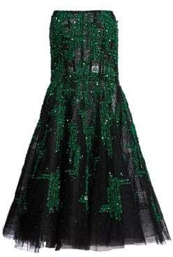 Pamella Roland Strapless Embellished Fit-And-Flare Dress