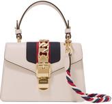 Gucci Sylvie Mini Chain-embellished Leather Shoulder Bag - Cream