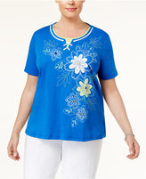 Alfred Dunner Plus Size Corsica Collection Lace-Up Embroidered Top