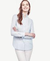 Ann Taylor Petite Ruffle Neck Perfect Shirt