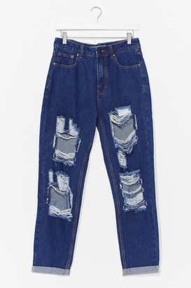 Nasty Gal Womens Open to It Ripped Mom Jeans - Blue - 6