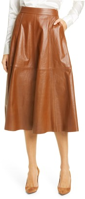 Polo Ralph Lauren Topstitch Detail Leather Skirt