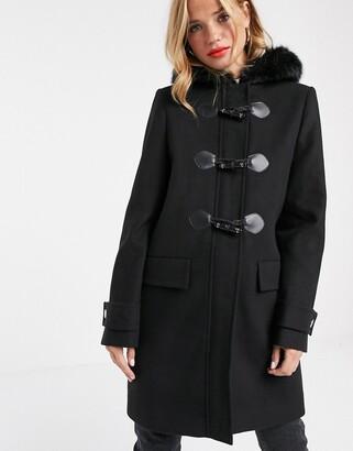 Asos DESIGN duffle coat with faux fur trim in black