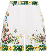Dolce & Gabbana Printed Cotton-poplin Bermuda Shorts - White