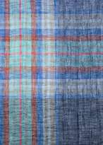 Paul Smith Men's Blue Check And Stripe Linen Scarf