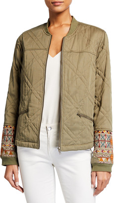 Johnny Was Leigh Quilted Seamed Bomber Jacket