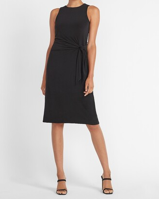 Express Sleeveless Side Tie Midi Sheath Dress