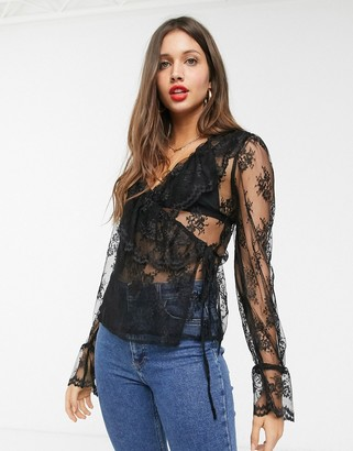 Asos DESIGN lace wrap top with ruffle