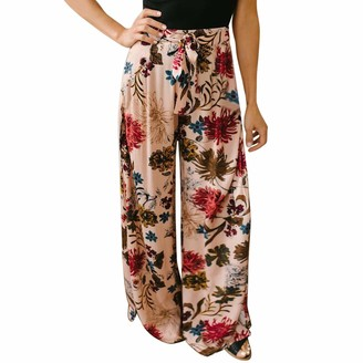 Semen Womens Floral Print Casual Wide Leg Pants Elastic Tie Waist Palazzo Lounge Trousers with Pockets Pink