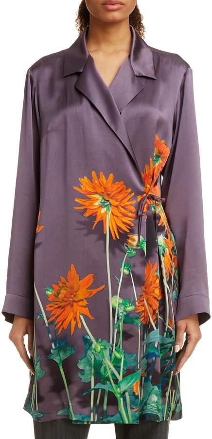 Dries Van Noten Calberta Dahlia Print Silk Robe Jacket