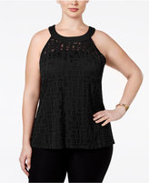 INC International Concepts Plus Size Illusion Halter Top, Only at Macy's