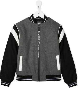 Givenchy Kids Colour Block Stripe Detail Bomber Jacket