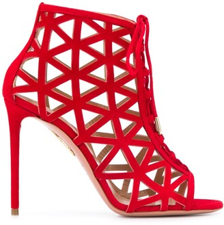 Aquazzura Laser-Cut Stiletto Sandals