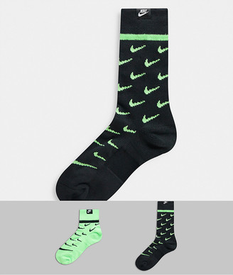 Nike 2 pack socks in black/neon green