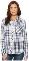 Dylan by True Grit - Fresh White and Denim One-Pocket Plaid Luxe Double Cloth Shirt Women's Long Sleeve Button Up